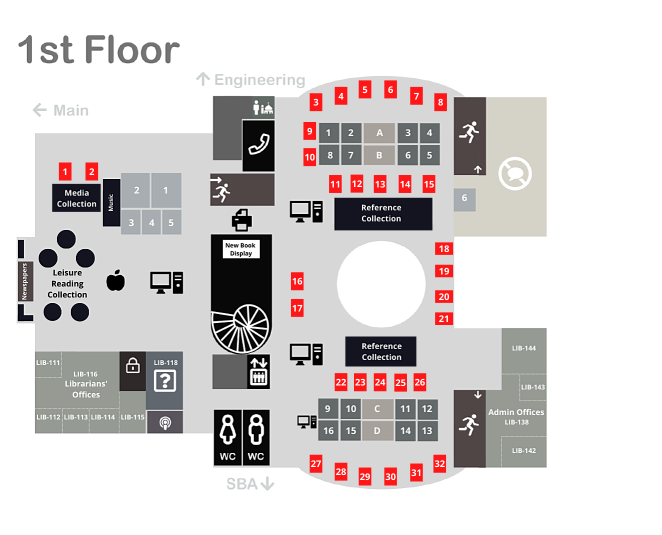 Library floor plan of group tables on the first floor