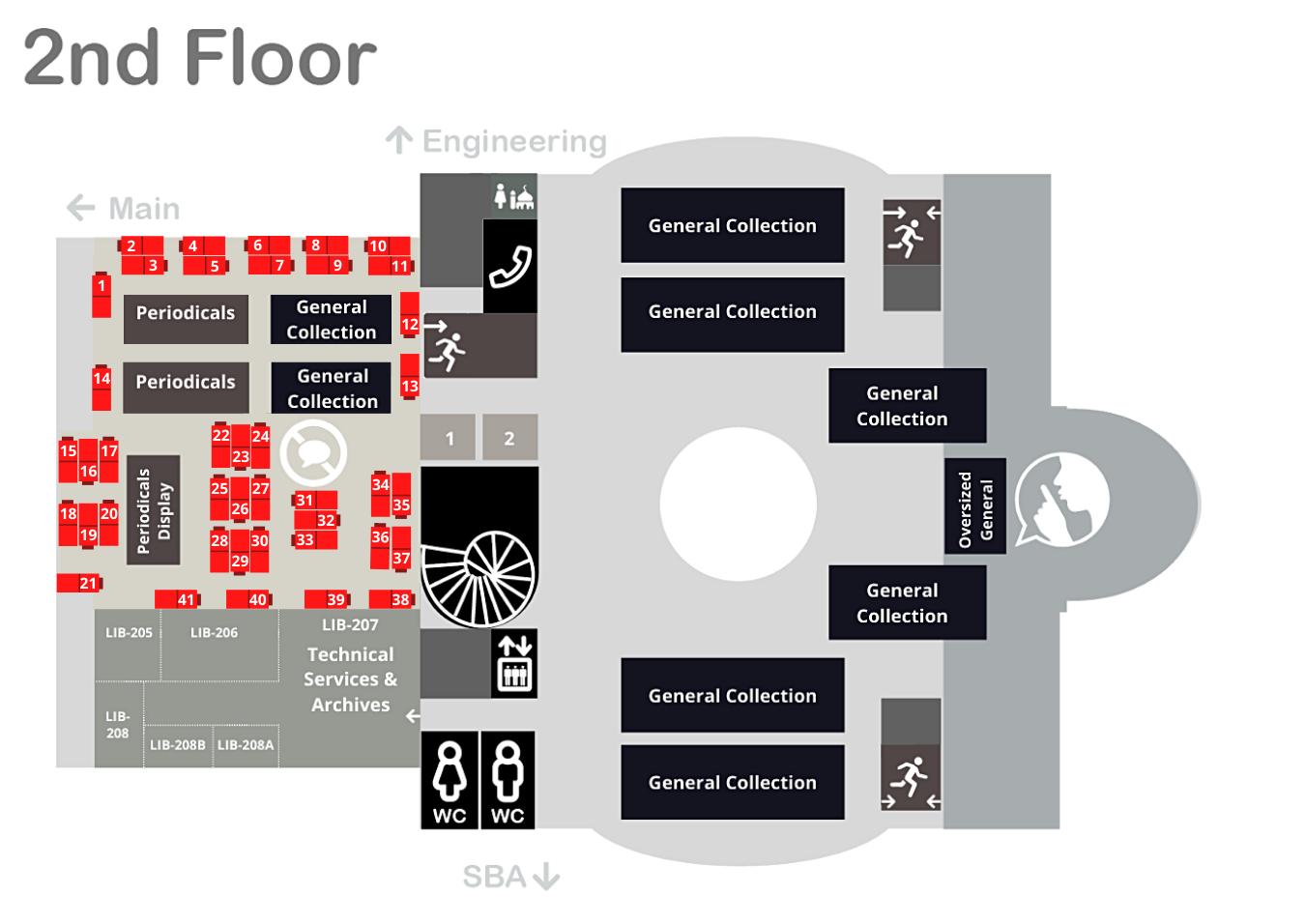 Single Carrel Desk no talking zone 2nd Floor