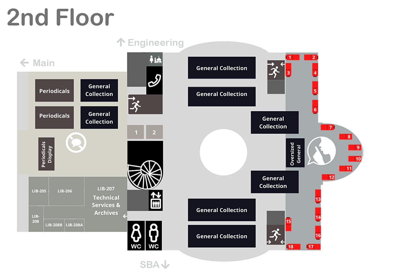 Single Carrel Desk quiet zone 2nd Floor